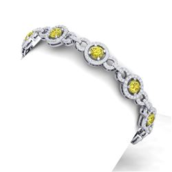 10 CTW Si/I Fancy Yellow And White Diamond Bracelet 18K White Gold - REF-886M4F - 40091