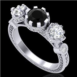1.75 CTW Fancy Black Diamond Solitaire Art Deco 3 Stone Ring 18K White Gold - REF-153K6R - 37877