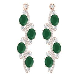 16.12 CTW Royalty Emerald & VS Diamond Earrings 18K Rose Gold - REF-290F9M - 38977