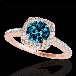 1.25 CTW SI Certified Fancy Blue Diamond Solitaire Halo Ring 10K Rose Gold - REF-161T8X - 33829