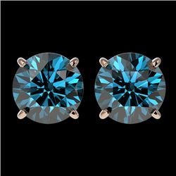 2.50 CTW Certified Intense Blue SI Diamond Solitaire Stud Earrings 10K Rose Gold - REF-338F2M - 3310