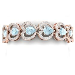 33.43 CTW Royalty Sky Topaz & VS Diamond Bracelet 18K Rose Gold - REF-594X5T - 38695