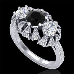 2.26 CTW Fancy Black Diamond Art Deco Micro Pave 3 Stone Ring 18K White Gold - REF-218M2F - 37744