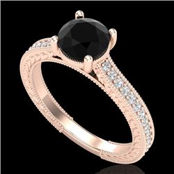 1.45 CTW Fancy Black Diamond Solitaire Engagement Art Deco Ring 18K Rose Gold - REF-109M3F - 37752