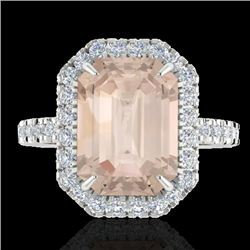 4.50 CTW Morganite & Micro Pave VS/SI Diamond Halo Ring 18K White Gold - REF-101W3H - 21431