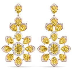 48.67 CTW Royalty Canary Citrine & VS Diamond Earrings 18K Rose Gold - REF-381K8R - 39058
