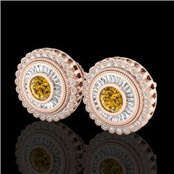 2.61 CTW Intense Fancy Yellow Diamond Art Deco Stud Earrings 18K Rose Gold - REF-300R2K - 37911