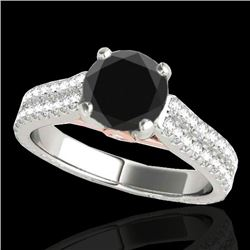 1.61 CTW Certified Vs Black Diamond Pave Ring Two Tone 10K White & Rose Gold - REF-79Y8N - 35461