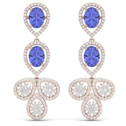 8.75 CTW Royalty Tanzanite & VS Diamond Earrings 18K Rose Gold - REF-327X3T - 39088