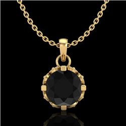 0.85 CTW Fancy Black Diamond Solitaire Art Deco Stud Necklace 18K Yellow Gold - REF-81R8K - 37368