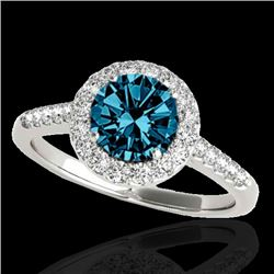 1.5 CTW SI Certified Fancy Blue Diamond Solitaire Halo Ring 10K White Gold - REF-169N3Y - 33486