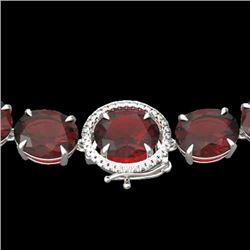 145 CTW Garnet & VS/SI Diamond Halo Micro Solitaire Necklace 14K White Gold - REF-455X6T - 22297