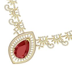 65.75 CTW Royalty Ruby & VS Diamond Necklace 18K Yellow Gold - REF-1581Y8N - 39779