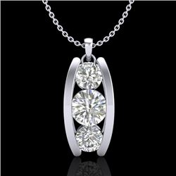 1.07 CTW VS/SI Diamond Solitaire Art Deco Stud Necklace 18K White Gold - REF-158R2K - 37013