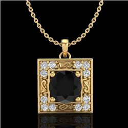 1.02 CTW Fancy Black Diamond Solitaire Art Deco Stud Necklace 18K Yellow Gold - REF-70T9X - 38166