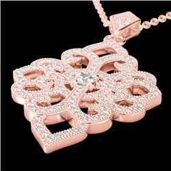 1.40 CTW Micro Pave VS/SI Diamond Certified Designer Necklace 14K Rose Gold - REF-130N9Y - 22556