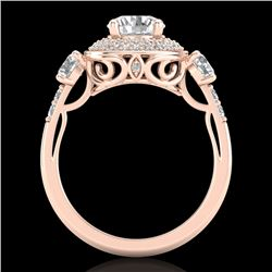 2.05 CTW VS/SI Diamond Solitaire Art Deco 3 Stone Ring 18K Rose Gold - REF-490K9R - 37263