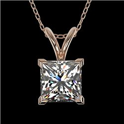 1 CTW Certified VS/SI Quality Princess Diamond Solitaire Necklace 10K Rose Gold - REF-265X3T - 33196