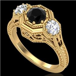 1.05 CTW Fancy Black Diamond Solitaire Art Deco 3 Stone Ring 18K Yellow Gold - REF-132H8W - 37949
