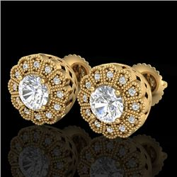 1.32 CTW VS/SI Diamond Solitaire Art Deco Stud Earrings 18K Yellow Gold - REF-245F5M - 37054