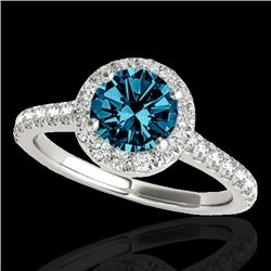 1.4 CTW SI Certified Fancy Blue Diamond Solitaire Halo Ring 10K White Gold - REF-160T2X - 33585