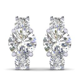 2.9 CTW Certified VS/SI Diamond 3 Stone Stud Earrings 18K White Gold - REF-595H4W - 32564