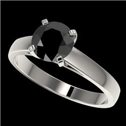 1.50 CTW Fancy Black VS Diamond Solitaire Engagement Ring 10K White Gold - REF-44X2T - 33022