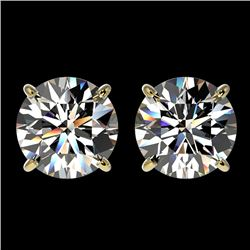 3 CTW Certified H-SI/I Quality Diamond Solitaire Stud Earrings 10K Yellow Gold - REF-623W3H - 33122