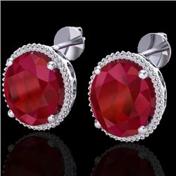 25 CTW Ruby & Micro Pave VS/SI Diamond Certified Halo Earrings 18K White Gold - REF-254W5H - 20275