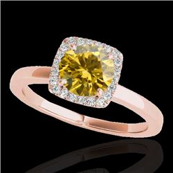 1.15 CTW Certified Si Fancy Intense Yellow Diamond Solitaire Halo Ring 10K Rose Gold - REF-163M5F -