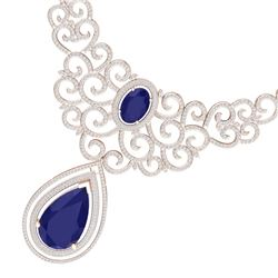87.52 CTW Royalty Sapphire & VS Diamond Necklace 18K Rose Gold - REF-1727R3K - 39843