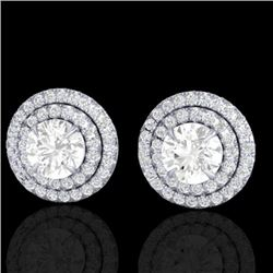 2 CTW Micro Pave VS/SI Diamond Certified Stud Earrings Double Halo 18K White Gold - REF-242T4X - 214