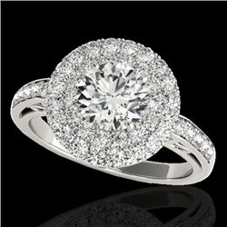 2.25 CTW H-SI/I Certified Diamond Solitaire Halo Ring 10K White Gold - REF-218N2Y - 34202
