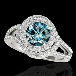 1.9 CTW SI Certified Fancy Blue Diamond Solitaire Halo Ring 10K White Gold - REF-209H3W - 34392