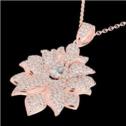 3 CTW Micro Pave VS/SI Diamond Certified Designer Necklace 14K Rose Gold - REF-362W5H - 22559