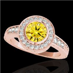 1.50 CTW Certified Si Fancy Intense Yellow Diamond Solitaire Halo Ring 10K Rose Gold - REF-170M9F -