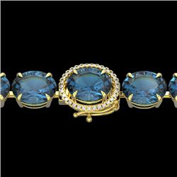 79 CTW London Blue Topaz & Micro VS/SI Diamond Halo Bracelet 14K Yellow Gold - REF-272W2H - 22267