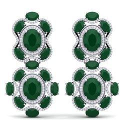 33.5 CTW Royalty Emerald & VS Diamond Earrings 18K White Gold - REF-518T2X - 39309
