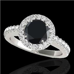 1.65 CTW Certified Vs Black Diamond Solitaire Halo Ring 10K White Gold - REF-80K4R - 33475