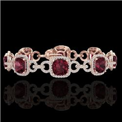 30 CTW Garnet & Micro VS/SI Diamond Certified Bracelet 14K Rose Gold - REF-368X9T - 23024