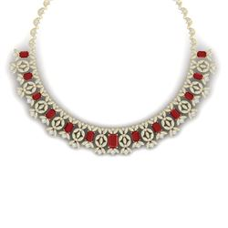 50.44 CTW Royalty Ruby & VS Diamond Necklace 18K Yellow Gold - REF-1709Y3N - 39380