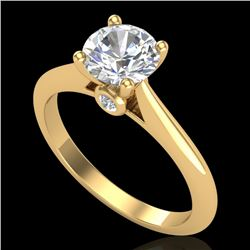 1.08 CTW VS/SI Diamond Solitaire Art Deco Ring 18K Yellow Gold - REF-361K8R - 37288