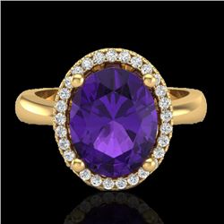 2.50 CTW Amethyst And Micro Pave VS/SI Diamond Ring Halo 18K Yellow Gold - REF-52F8M - 21093