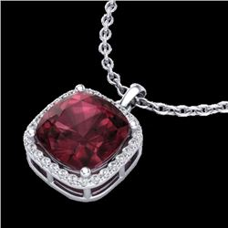 6 CTW Garnet & Micro Pave Halo VS/SI Diamond Necklace Solitaire 18K White Gold - REF-54N2Y - 23081