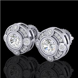 1.5 CTW VS/SI Diamond Solitaire Art Deco Stud Earrings 18K White Gold - REF-263T6X - 36980