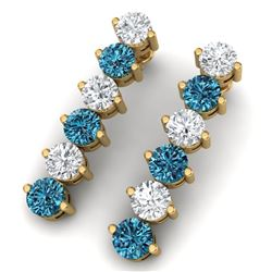 6 CTW Certified Si/I Fancy Blue & White Diamond Earrings 18K Yellow Gold - REF-450R2K - 40214