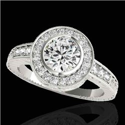 2 CTW H-SI/I Certified Diamond Solitaire Halo Ring 10K White Gold - REF-525X5T - 33900