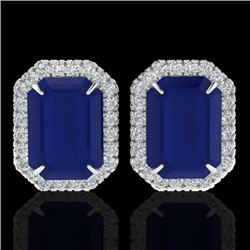 14 CTW Sapphire And Micro Pave VS/SI Diamond Halo Earrings 18K White Gold - REF-136W4H - 21233
