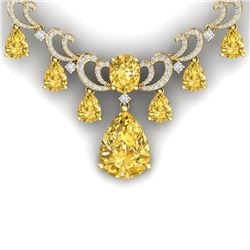 36.50 CTW Royalty Canary Citrine & VS Diamond Necklace 18K Yellow Gold - REF-872Y8N - 38669