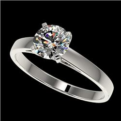 0.99 CTW Certified H-SI/I Quality Diamond Solitaire Engagement Ring 10K White Gold - REF-140N2Y - 36
